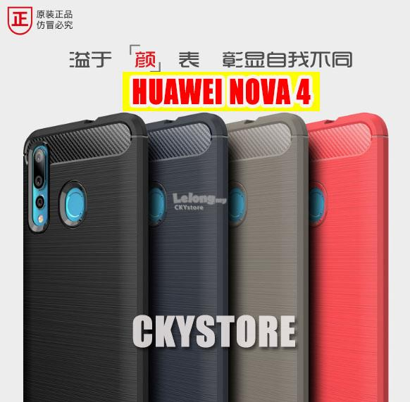 HUAWEI Honor 20 Lite / NOVA 4 / 4E Durable CARBON FIBER TPU Case Cover