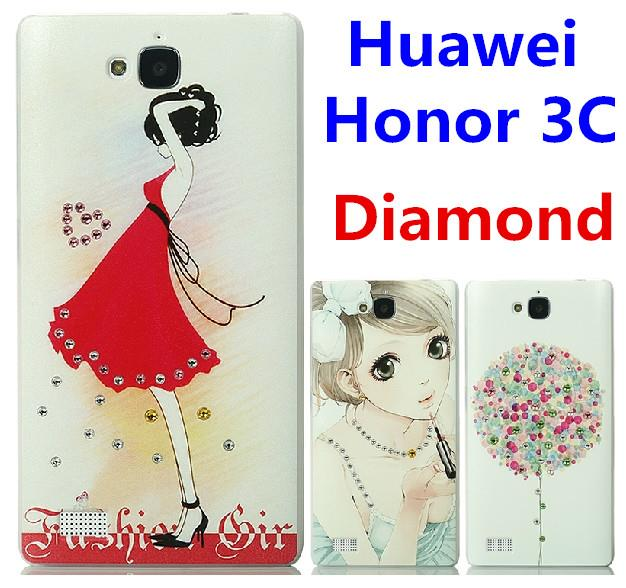 Huawei Honor 3C Swarovski Diamond 3D Relief Case Cover + Free SP