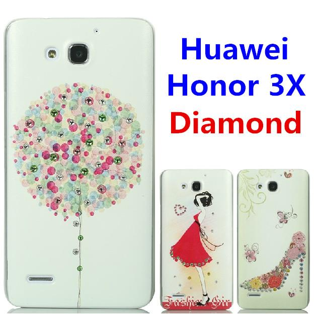Huawei Honor 3X G750 Swarovski Diamond 3D Relief Case Cover + Free SP