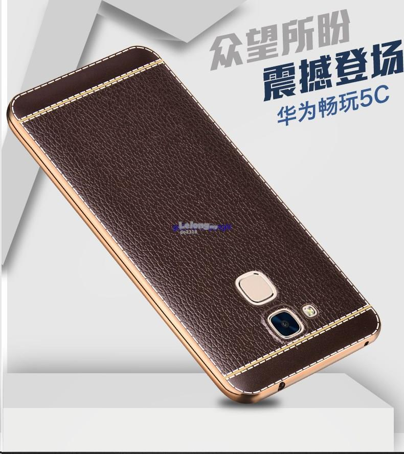 qualità superiore d6c43 b26f1 Huawei Honor 5c Lychee Pattern Soft Back Cover Casing+Tempered Glass