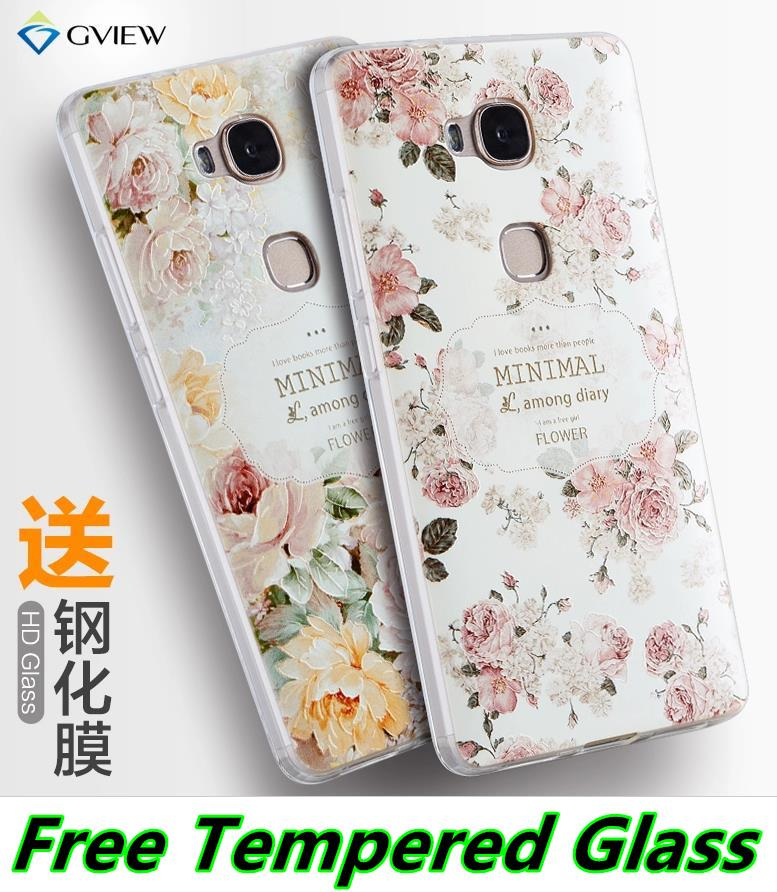 negozio online b939c 6066d Huawei Honor 5X 3D Relief Silicone Case Cover Casing + Tempered Glass