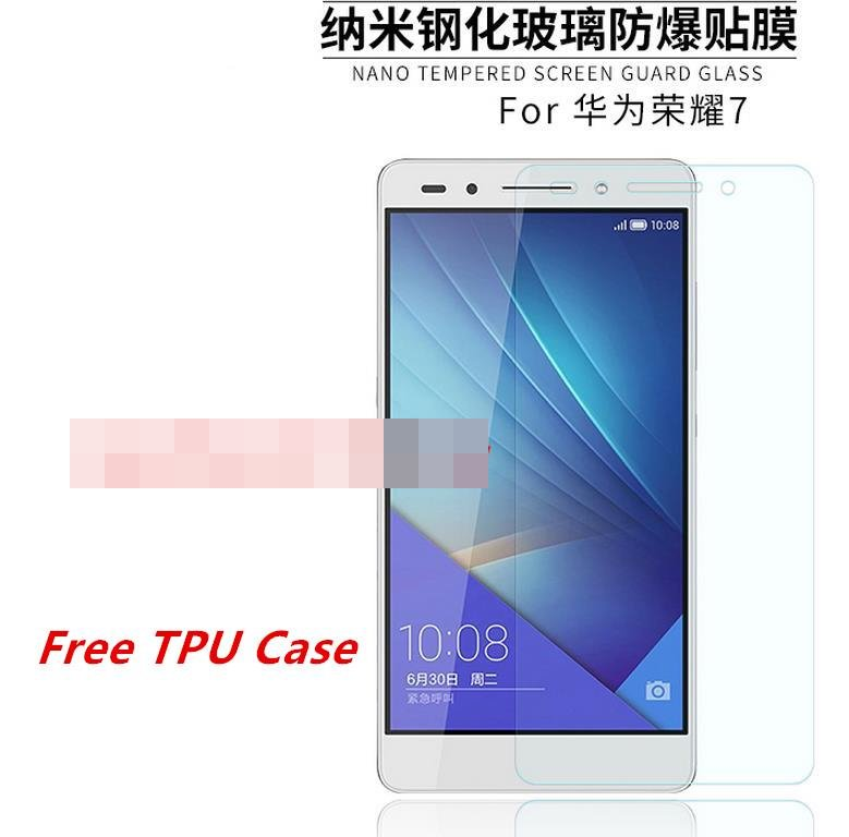 Huawei Honor 7 9H Tempered Glass Screen Protector + Clear TPU Case