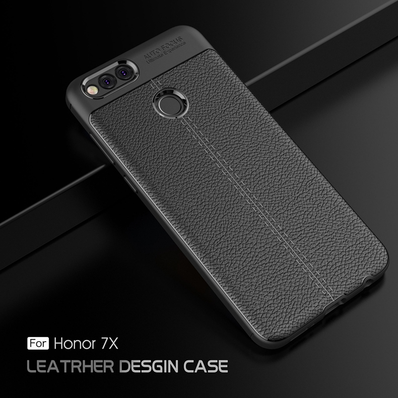 online store 41d10 45efd Huawei Honor 7X Luxury PU Leather Soft Shockproof Case Cover