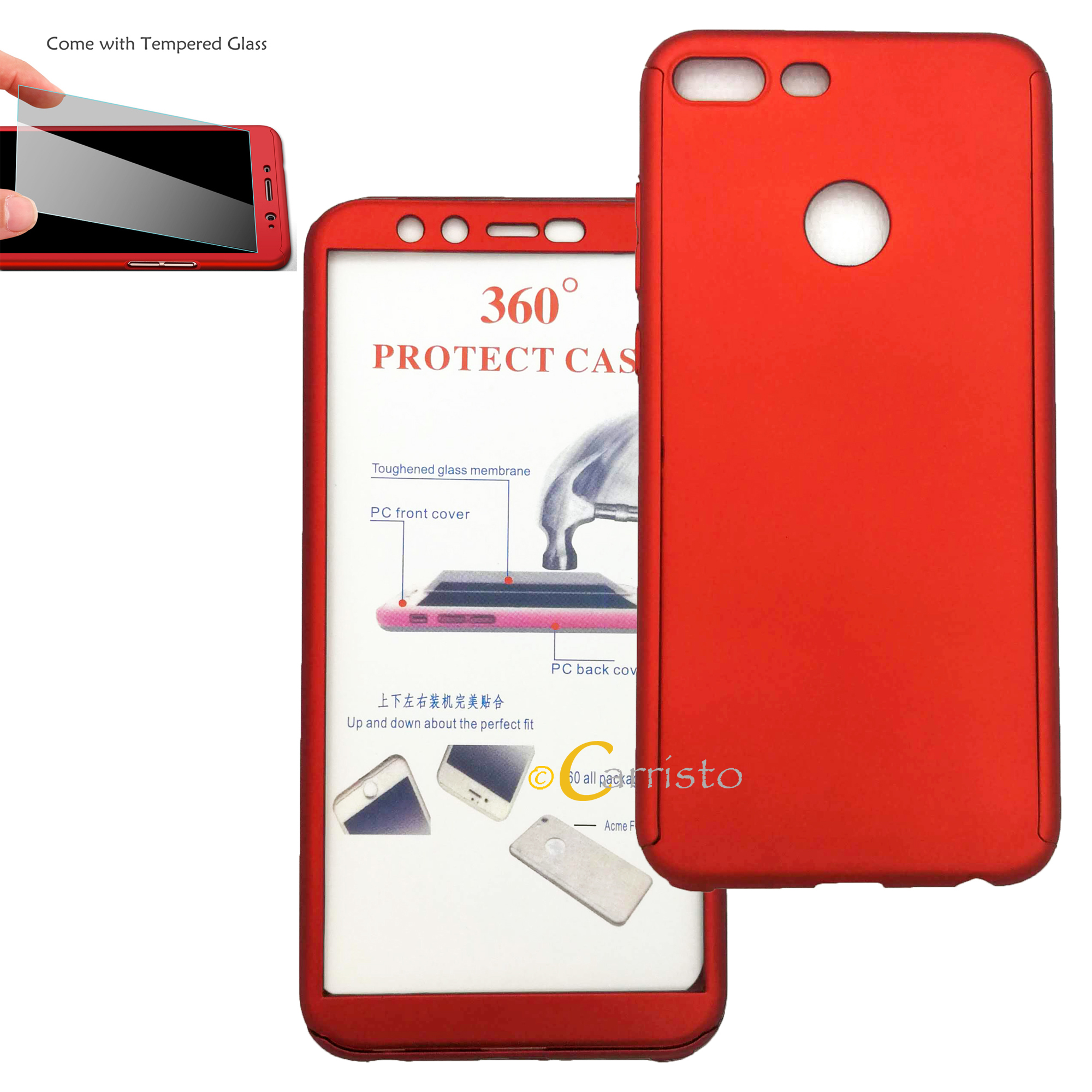 quality design 81fb4 20300 Huawei Honor 9 Lite Honor 10 360 Degree Full Cover Case With Tempered