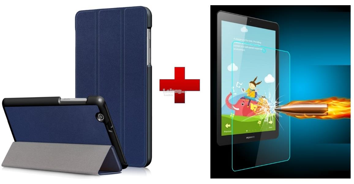 Huawei Mediapad T3 7.0 BG2-U01 Tablet PU Case Cover + Tempered Glass