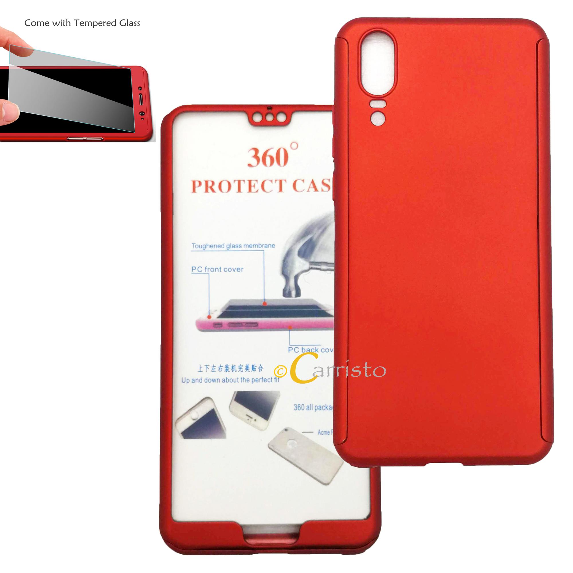 online retailer 18891 e4fe5 Huawei Nova 3E P20 360 Degree Full Cover Case With Tempered Glass