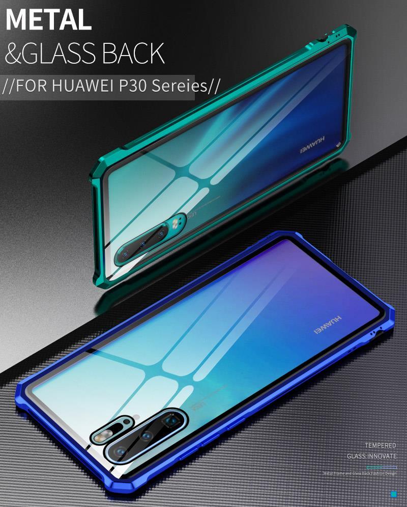 wholesale dealer 6df54 015c9 Huawei P30/ P30 Pro/ P30 Lite Metal Bumper Tempered Glass Case Cover C