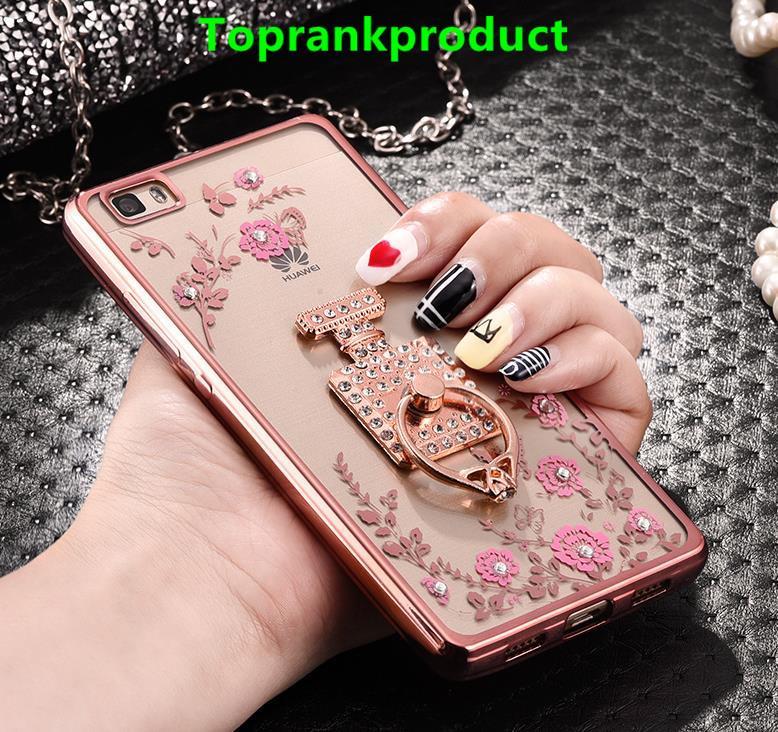 huawei p8 lite. huawei p8 / lite diamond silicone case cover casing + ring holder x