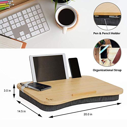 Hultzzzy Modern Home Office Lap Desk - Durable Natural Bamboo Surface, Fits up
