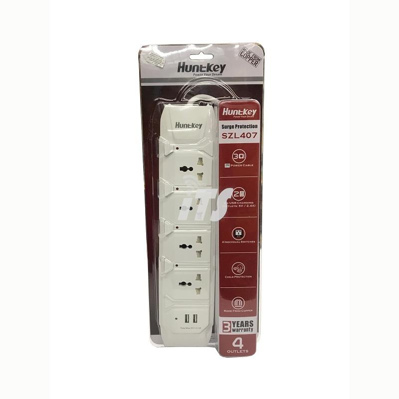 Huntkey 4 Sockets + 2 USB Port Power Strip Surge Protector (SZL407)