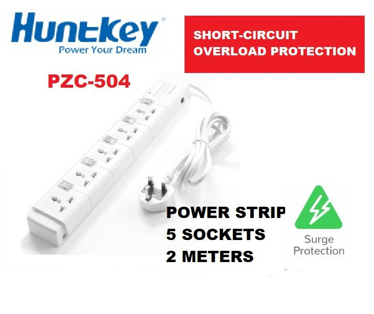 HUNTKEY PZC504 POWER STRIP SURGE PROTECTOR 5 PLUGS 2 METER EXTENSION SOCKET