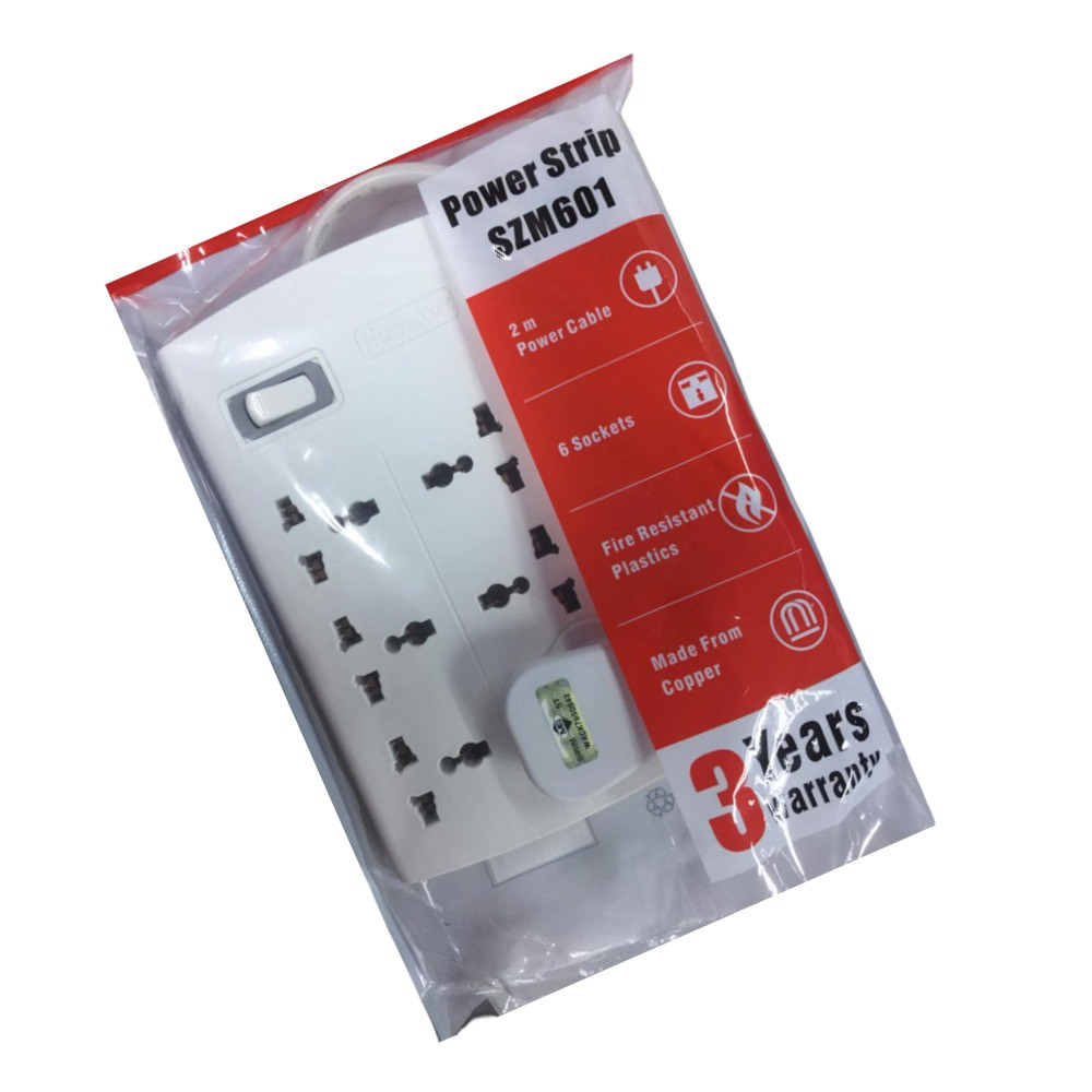 HUNTKEY SZM601 Power Extension Power Strip with 6 Sockets 2M Extension Cord Ch
