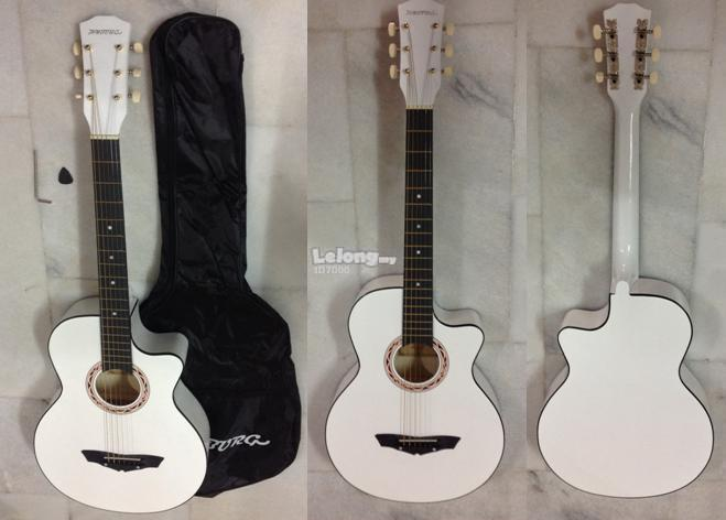 HYBURG Acoustic Guitar 38 Inch(White)+Bag+Pick+Pickguard+Strap