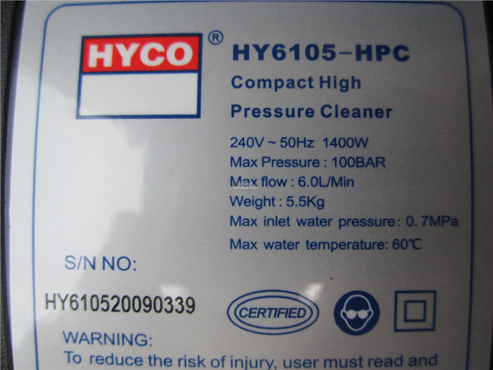 Hyco 1400W 100Bar 6.0L/min Compact High Pressure Washer