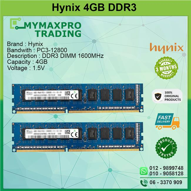 Hynix 4GB DDR3 DIMM 1600MHz Desktop Pc RAM