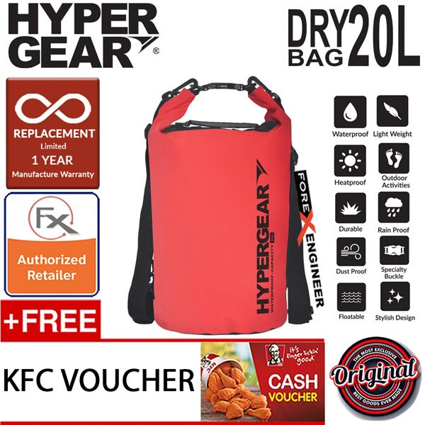 Hypergear Dry Bag 20l Ipx6 Waterproof Specification Red