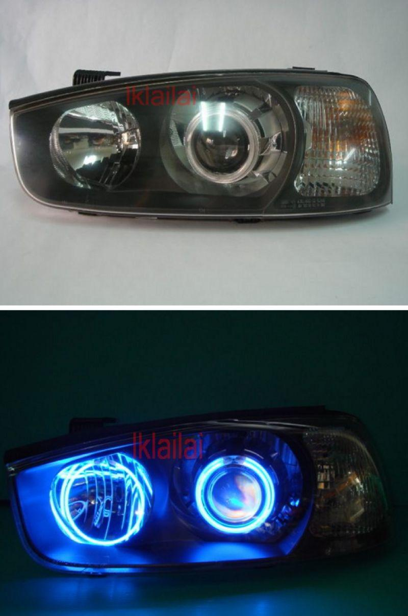 HYUNDAI ELANTRA 02 CCFL Ring Projector Head Lamp + 2-Function DRL R8