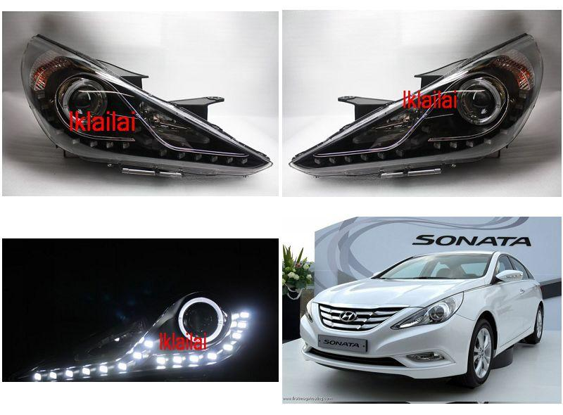 Hyundai Sonata `10-13 Head Lamp Projector Black W/Rim+DRL