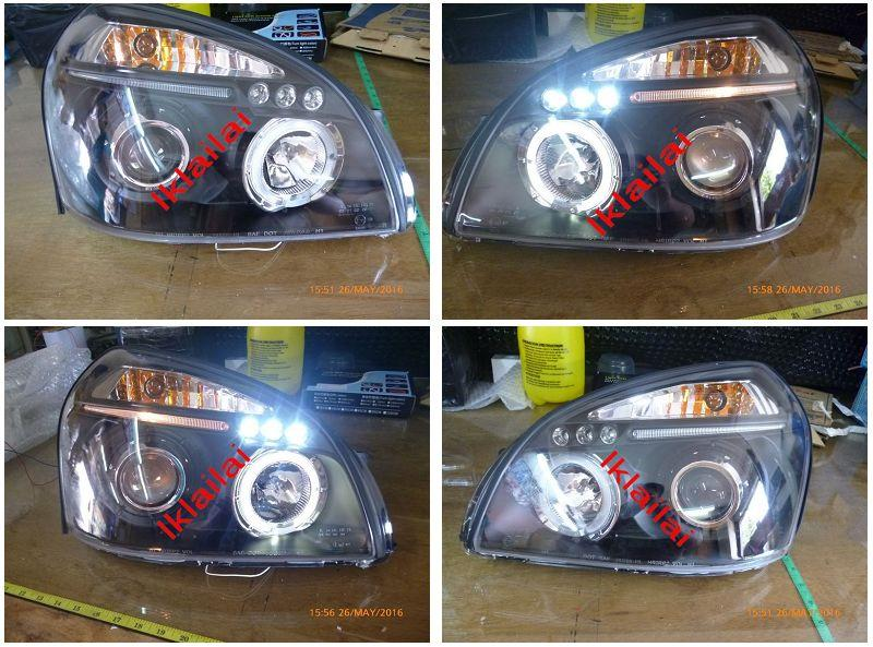 HYUNDAI TUCSON LED Ring Projector Head Lamp Black Housing