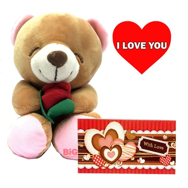 I love you teddy bear with rose lo end 1292019 115 am i love you teddy bear with rose love card voltagebd Gallery
