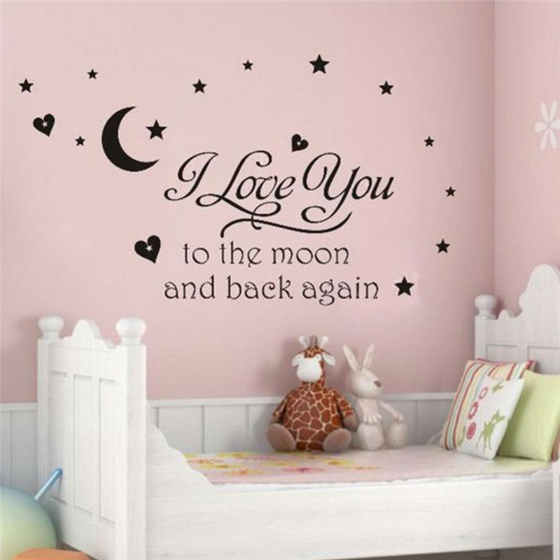 Love You to the Moon and Back Quote Baby Girl Bedroom Wall ...