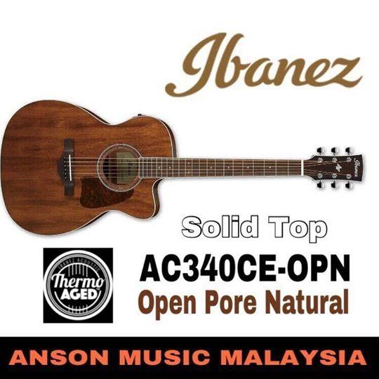 Ibanez AC340CE-OPN Artwood Acoustic-Electric Guitar, Open Pore Natural