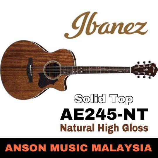 Ibanez AE245-NT Acoustic-Electric Guitar, Natural High Gloss