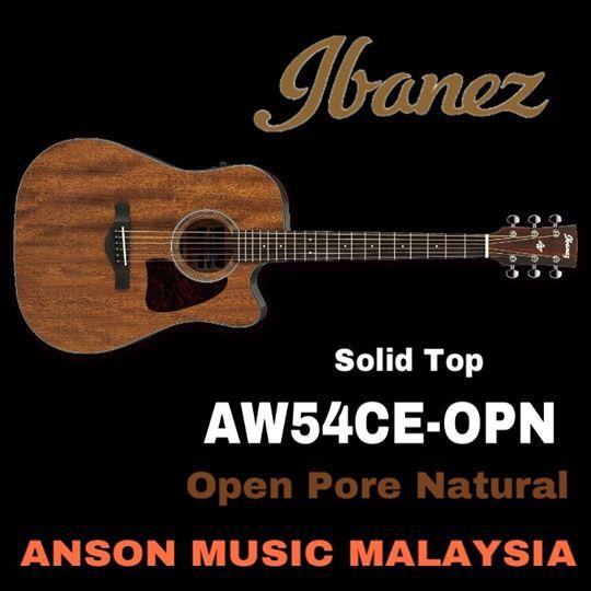 Ibanez AW54CE-OPN Artwood Acoustic-Electric Guitar, Open Pore Natural
