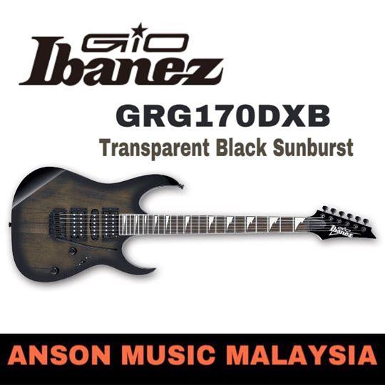 Ibanez GIO GRG170DXB Electric Guitar, Transparent Black Sunburst(TKS)