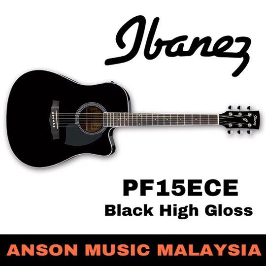 Ibanez PF15ECE Acoustic-Electric Guitar, Black High Gloss