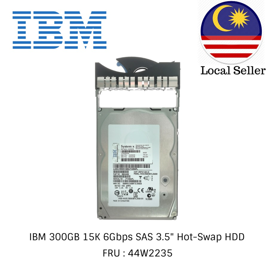 IBM 300GB 15K 6Gbps SAS 3.5 Hot-Swap HDD /44W2234 /44W2235 /44W2238