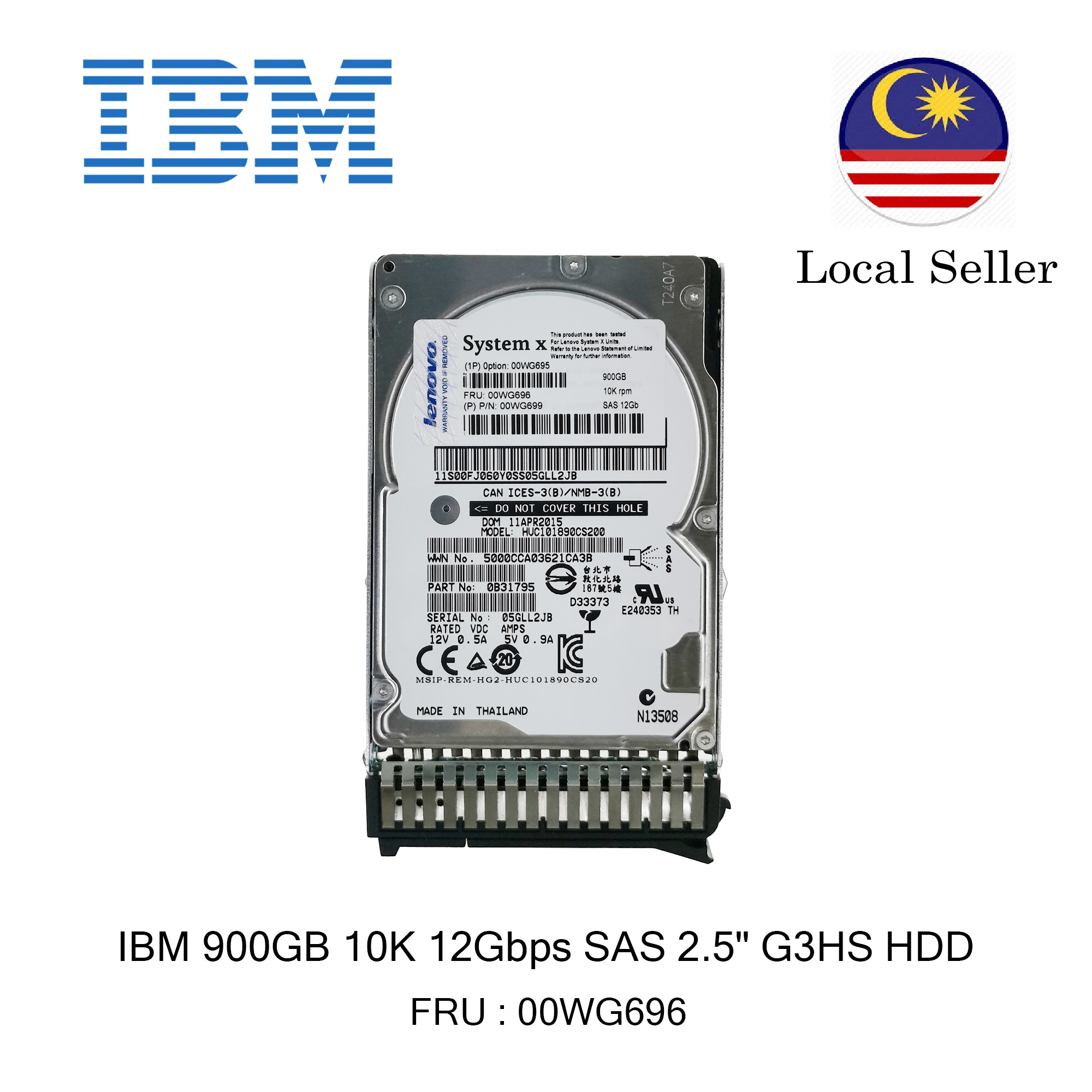 IBM 900GB 10K 12Gbps SAS 2.5 HDD // 00WG696