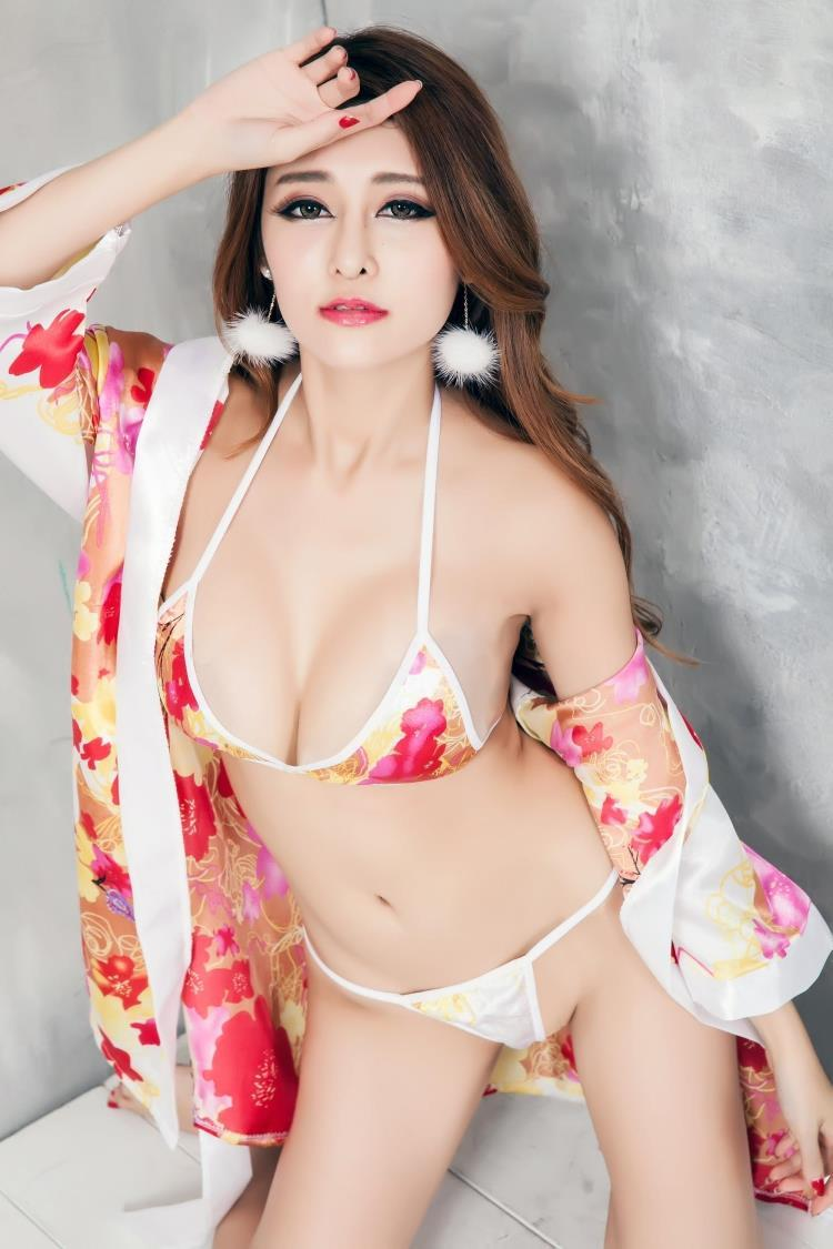 Ice Silk Japanese Kimono Robes Bra Bikini Set + G-string Sleepwear 7066f5c607