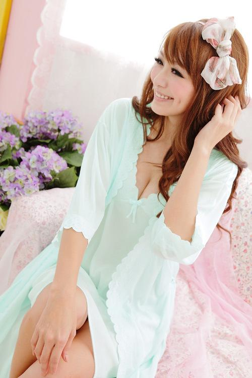 Ice Silk Lace-side 2pcs Suit (Green)