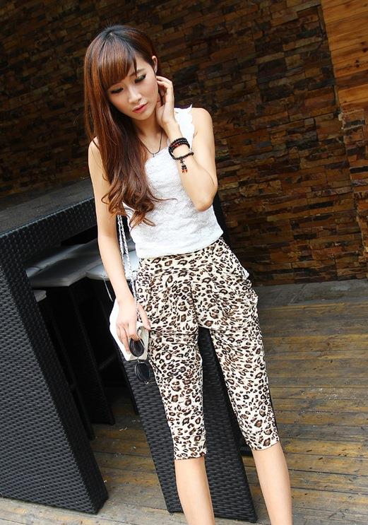 Ice Silk Leopard Harem Pants