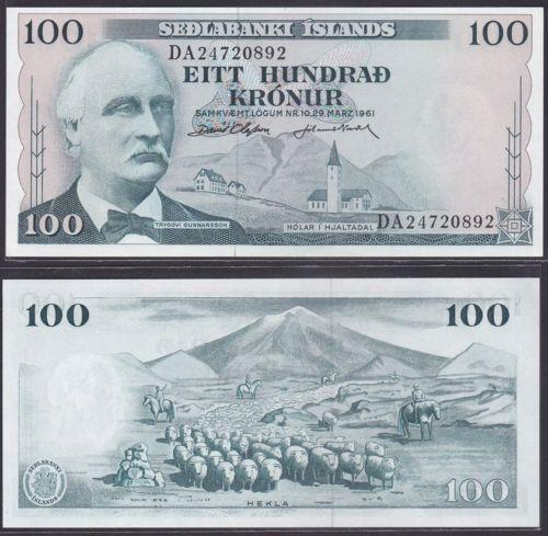 Iceland 1961 Hundred 100 Kronur UNC (P-44)