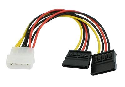 IDE 4p M to 2X Dual SATA 15p F Y Splitter Power Cable