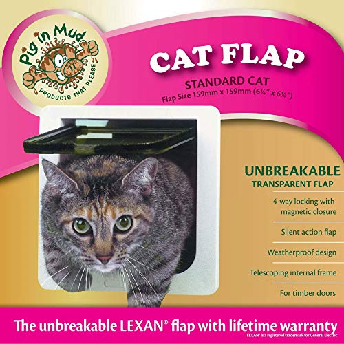 "Ideal Pet Products Cat Flap Door with 4 Way Lock, 6.25 "" x 6.25 "" Fl"