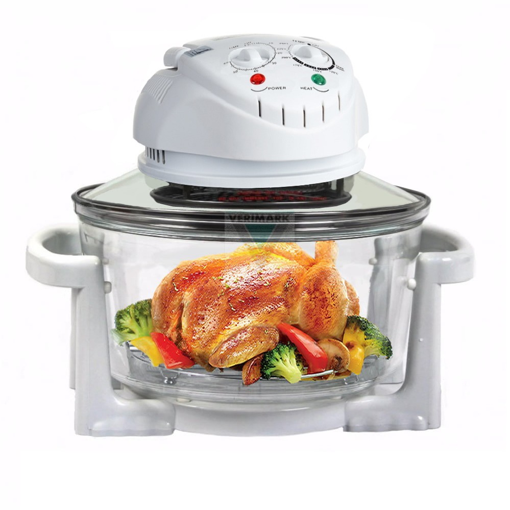 IDover 12L Convection Halogen Glass Bowl Oven With Stainless Steel Accessories