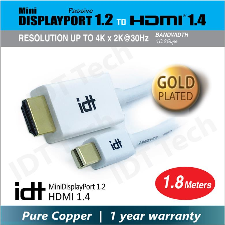 IDT Pure Copper Gold Plated Mini Displayport 1.2 to HDMI 1.4 Cable Sup