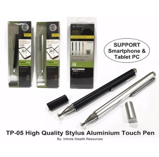 IETOP DISC TYPE ALUMINIUM STYLUS DRAWING PEN SMARTPHONE TP-05 BLACK