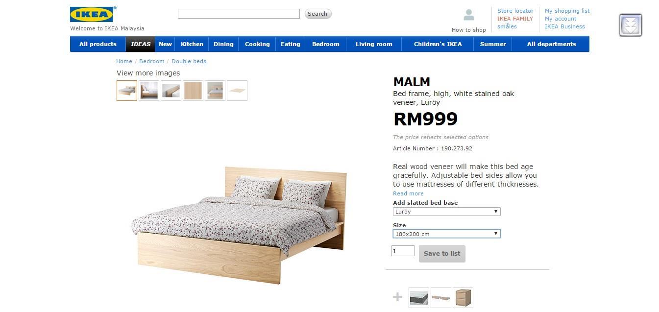 Ikea Bed Frame Mattress Katil Kingsize Double Complete Fullset