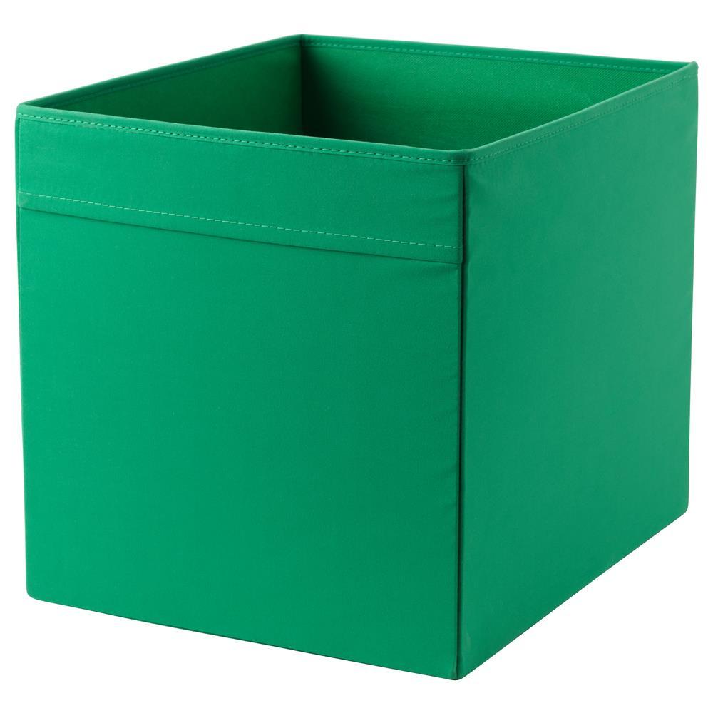 Ikea Drona 33x38x33cm Velvety Fabric Storage Box Green Color