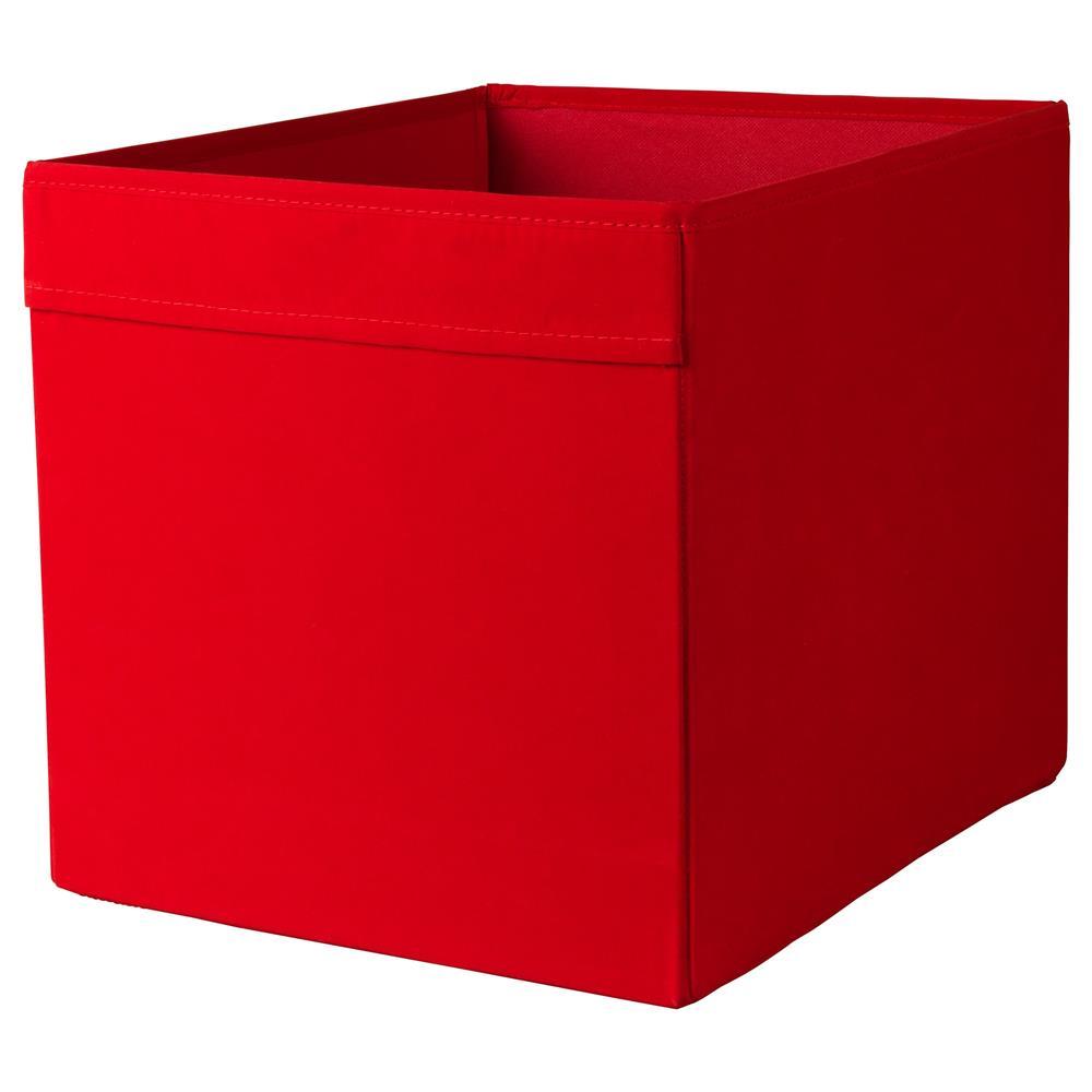 Ikea Drona 33x38x33cm Velvety Fabric Storage Box Red Color