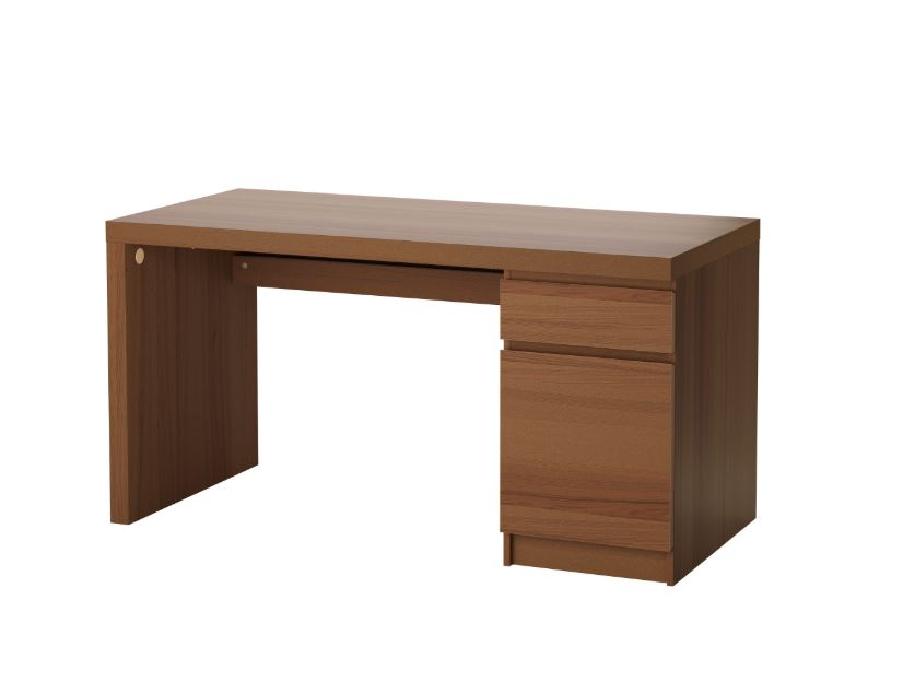 IKEA MALM Desk Brown Stained Ash Veneer. U2039 U203a