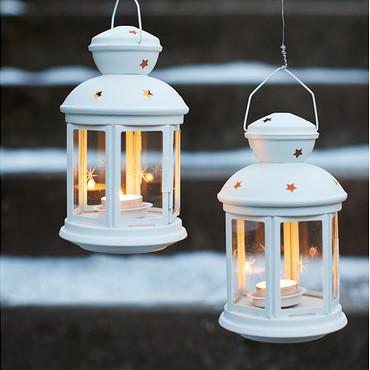 IKEA Rotera Lantern for Tealight (In/Outdoor White 21cm Steel Glass)