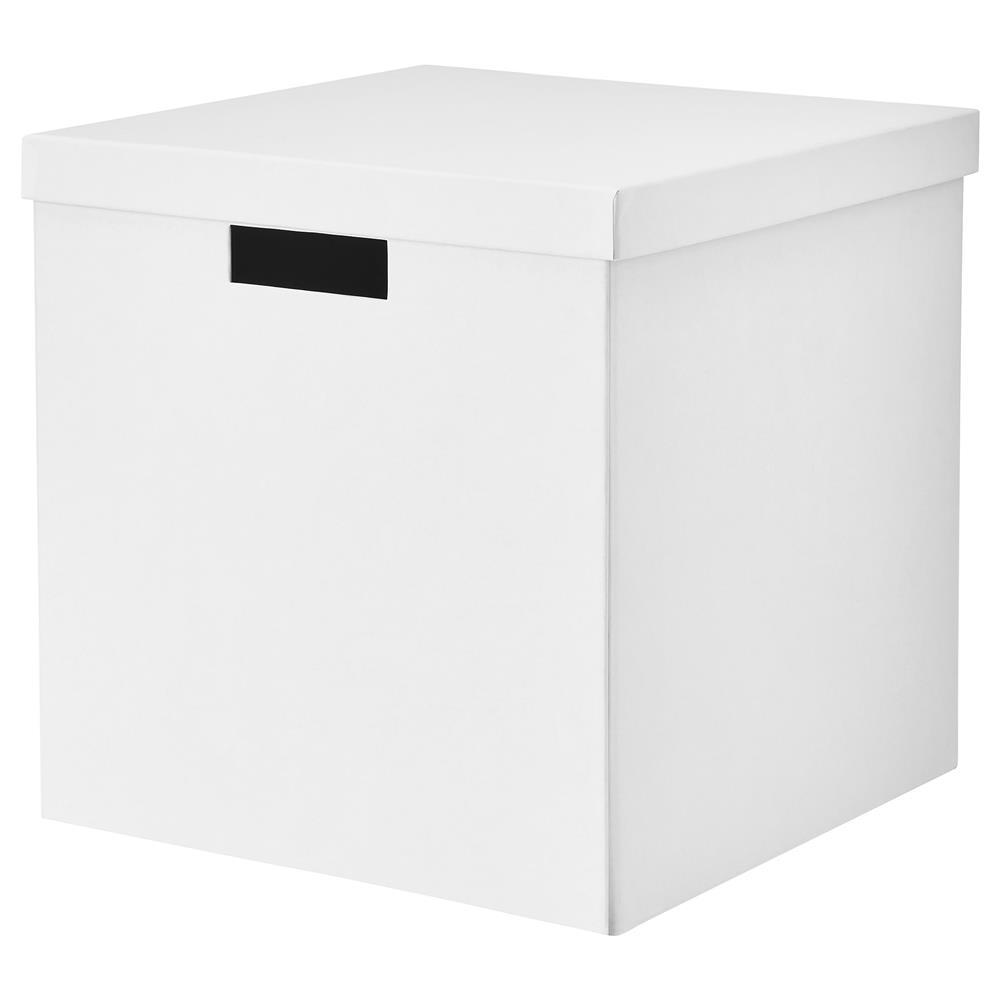 Ikea Tjena 30x30x30cm Storage Box With Lid White