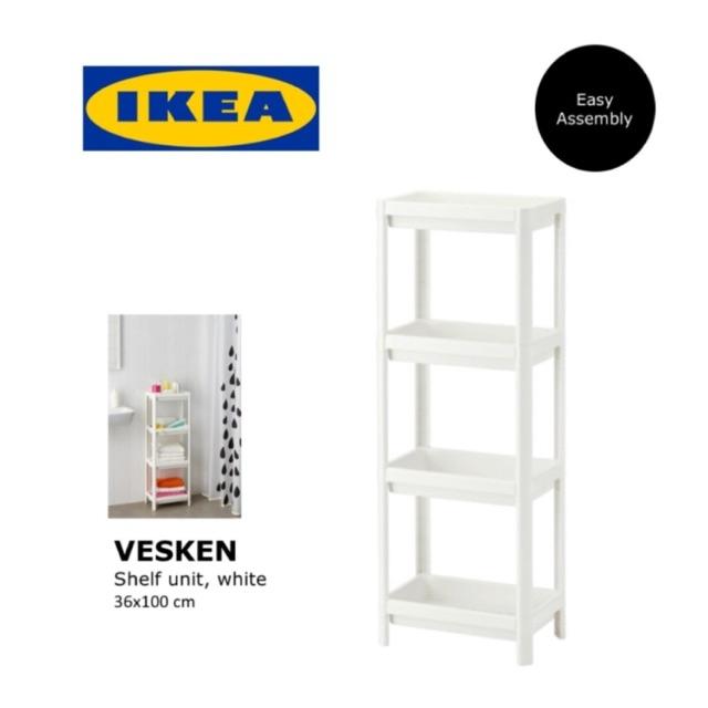 Ikea Vesken Plastic Bathroom Shelf Unitmultipurpose Storage Unit36x100 Cm