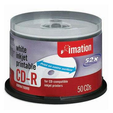 graphic relating to Inkjet Printable Cds identified as Imation CD-R CDR 700MB 50s/Spindle White Inkjet Printable Seem