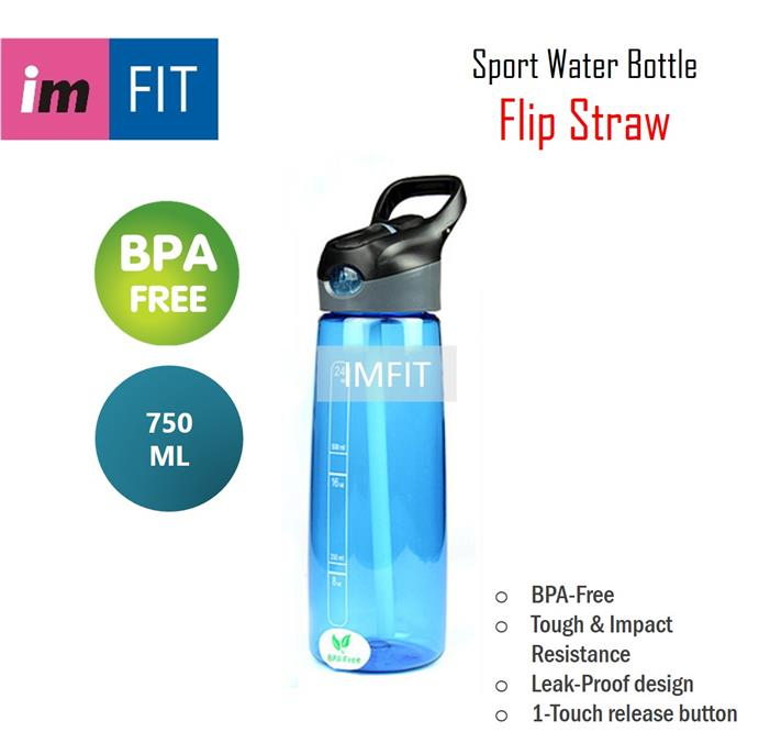 Imfit Sport Water Bottle FlipStraw 750ml - BPA-Free Tritan Leak-Proof